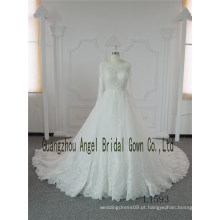 Espartilho Strapless ocidental nupcial uma linha de vestido de noiva de mangas compridas