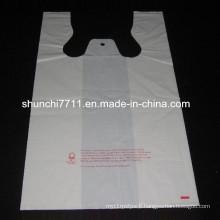 White Printing Plastic Vest Shopping Bag
