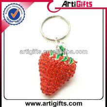 Newest style rhinestone fashion metal strawberry keychain