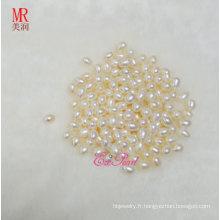 Perles lisses d'eau douce ovales 7-8mm