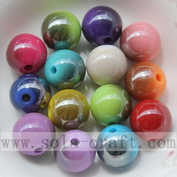 Beautiful solid round smooth acrylic bead with two colors