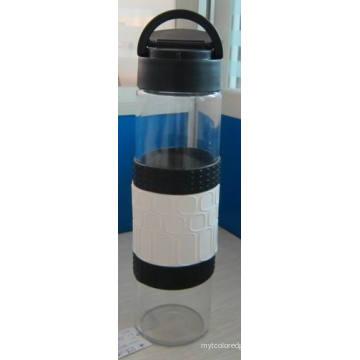 Bouteille d'eau en verre avec manchon en silicone Bonnette PP / 385g 520ml