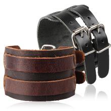 Luxe bijoux véritable cuir de vache deux boutons brun / bleu / noir en cuir hommes Bracelet