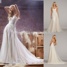 High-Class 2014 Sweetheart Low Back Tulle Made A-Line Wedding Dress Long Garden Bridal Gown With Pleats Crystal Accent NB0670