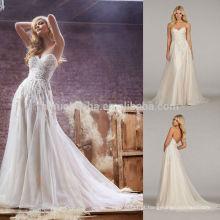 High-Class 2014 Sweetheart Low Back Tulle Feito A-Line Vestido de casamento Long Garden Bridal Gown With Pleats Crystal Accent NB0670