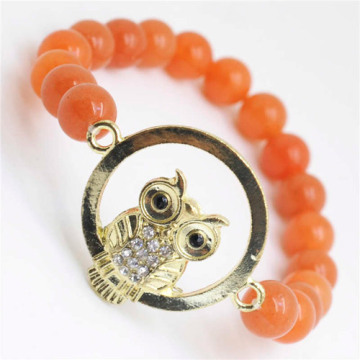 Red Aventurine Gemstone Bracelet with Diamante owl alloy Piece