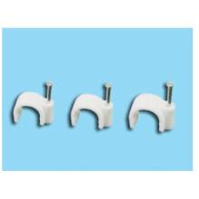 Clips de cable coaxial blanco / Clip de cable de clavo circular