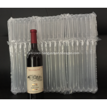 Inflatable air packing bag for three wine bottles