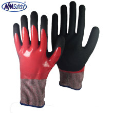 NMSAFETY Double Nitrile Dipping oil and cut proof nitrile gloves 13 gauge
