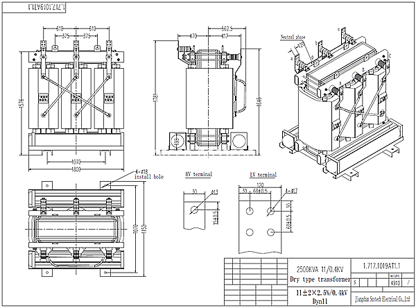 2500kva Dry Type Transformer Drawing