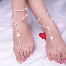 2015 hot selling foot Jewelry Handmade Pearl Anklets