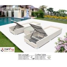 Wicker swimming pool lounge chairs.
