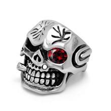Из нержавеющей циркон добавьте кости черепа мужская стальное кольцо панк Байкер