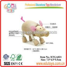 Animal de brinquedo de madeira - Brinquedo de porco rosa