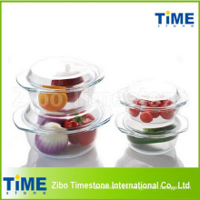 Transparent Round Heat Resistant Glass Casserole