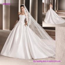 Vestido de boda blanco sin tirantes de la venta caliente del vestido de bola
