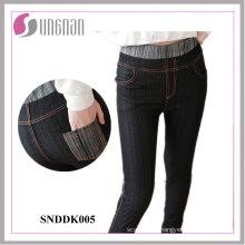 Mulheres elegantes de alta cintura leggings falsificados jeans (snddk005)