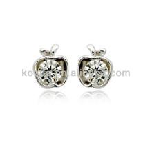 China wholesale cute apple shape silver stud earrings