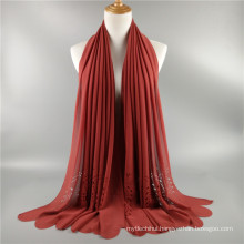Factory price hot sale hollow carved laser cut plain bubble chiffon women shawl scarf wholesale