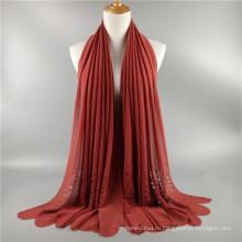 Заводская цена горячей продажи полые лазер вырезать обычный пузырь шифон женщины шарф шаль оптовая