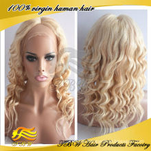 TBW natural looking loose curly #613/#27 highlighted blonde human hair full lace wig