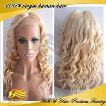 TBW natural à procura solto encaracolado # 613 / # 27 destaque cabelo humano loiro peruca cheia do laço