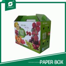 Boîte-cadeau de boîte d'emballage de fruit frais imprimé par couleur avec la poignée