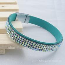 Hot venda rhinestone pulseira Chaton cristal malha pulseira com ímã fivela