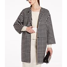 17PKCSC016 mulheres camada dupla 100% casaco de lã de cashmere