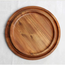 Round Acacia Wood Plates Chargers set 2