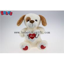 Más suave te amo peluche bebé perro juguete con almohada de corazón rojo Bos1184