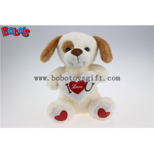 Softest I Love You Plush Baby Dog Toy with Red Heart Pillow Bos1184