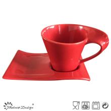 Taza roja de cerámica de 11oz con bandeja