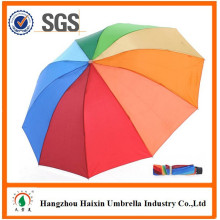 Bestseller 2017 Advertising Folded Big Rainbow Dome Pongee Unbrella with Logo