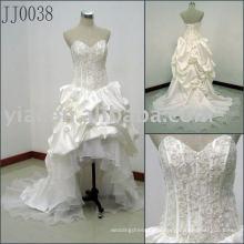 Frente curto longo de volta sem mangas de luxo de alta qualidade sexy New Arrival Elgant Vestido de casamento real JJ0038