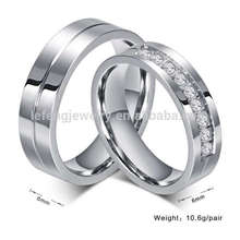 Anillos de bodas de titanio para él y para ella, anillos de compromiso de diamantes de plata de diseño