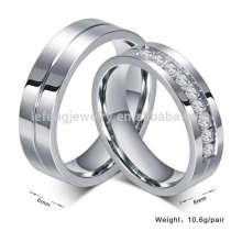 Titânio dele e dela, anéis de casamento, designer de prata com diamantes anéis de noivado de jóias