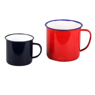 Blue Rimmed 5/6/7/8/9/10/11/12mm Cream Enamel Mug Cup
