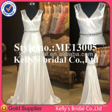 Wholesale sexy deep v-neck satin mature ladies evening dresses New style cheapest mermaid sleeveless prom dress suppliers