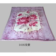 220*240cm Double Bed Flower Printed Raschel Mink Blankets