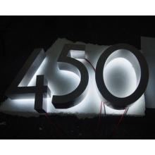 Acero inoxidable cepillado 3D casa número 0-9