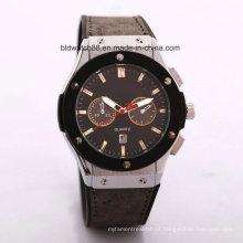 Promoção japão movimento pulseira de couro relógio de pulso homens