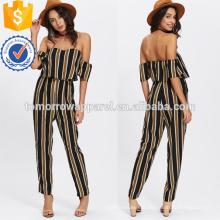 Multicolor Flounce em camadas pescoço listrado Jumpsuit OEM / ODM fabricação atacado moda feminina vestuário (TA7005J)