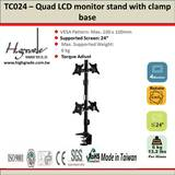Double side vertical quad LCD monitor Pole Mount Desk stand