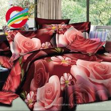 100% polyester microfibre 3d drap de lit avec sensation de douceur, disperser impression de panneau 3d housse de couette
