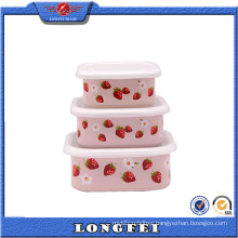 3 PCS Square Shape Enamel Salad Bowl with Lid
