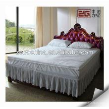 Falda blanca de la cama del color del algodón del hotel para la venta