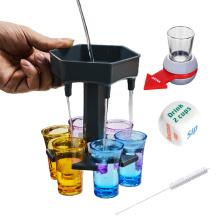 6 pcs/set Party Bar Accessories Beer Wine Fast Fill Tool Filling Liquids Shots Plastic 6 Shot Glass Beverage Dispenser
