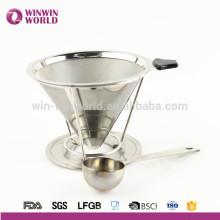 Heißes verkaufendes förderndes Geschenk 18 # 8 Papierloser entfernbarer Edelstahl gießen über Kaffee-Dripper und Brauer mit Kaffee-Schaufel
