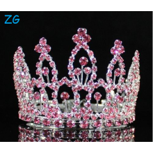 Mini Pink Rhinestone Full Hair Crown Tiara Party Bridal Jewelry Prom